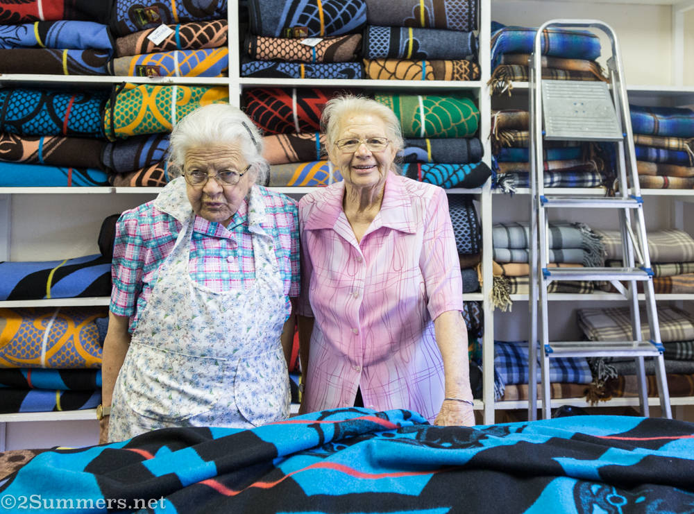 Minnie and Gertie at the Blanket Shop