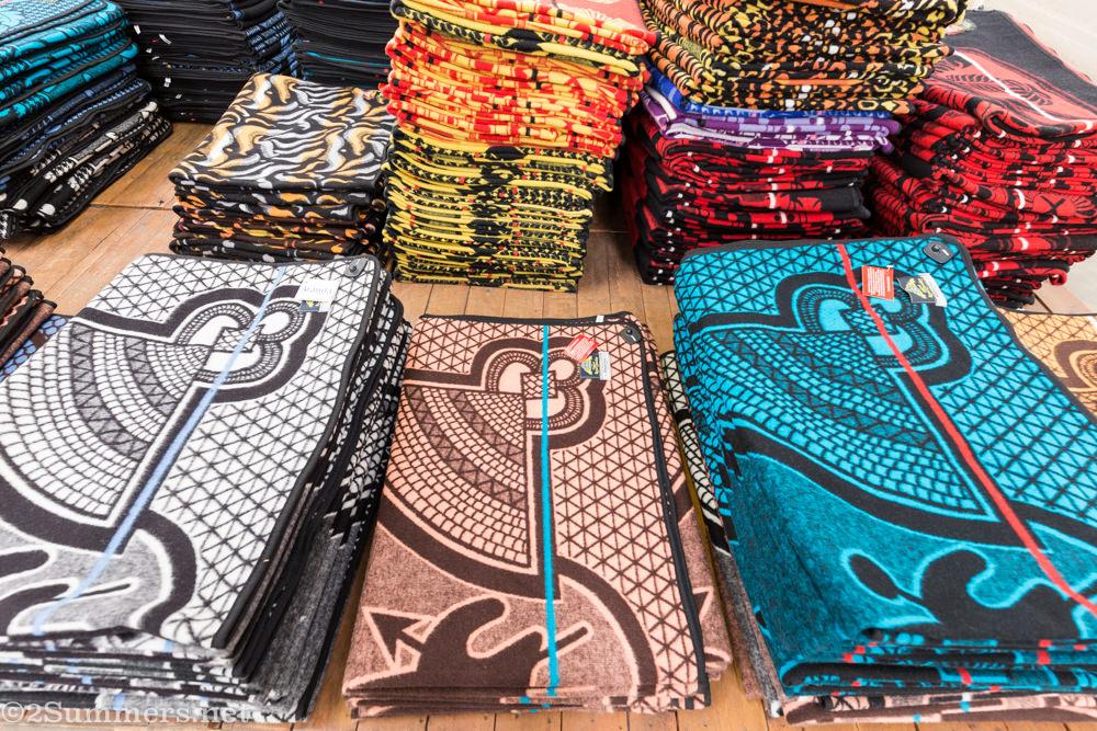 Folded Basotho blankets