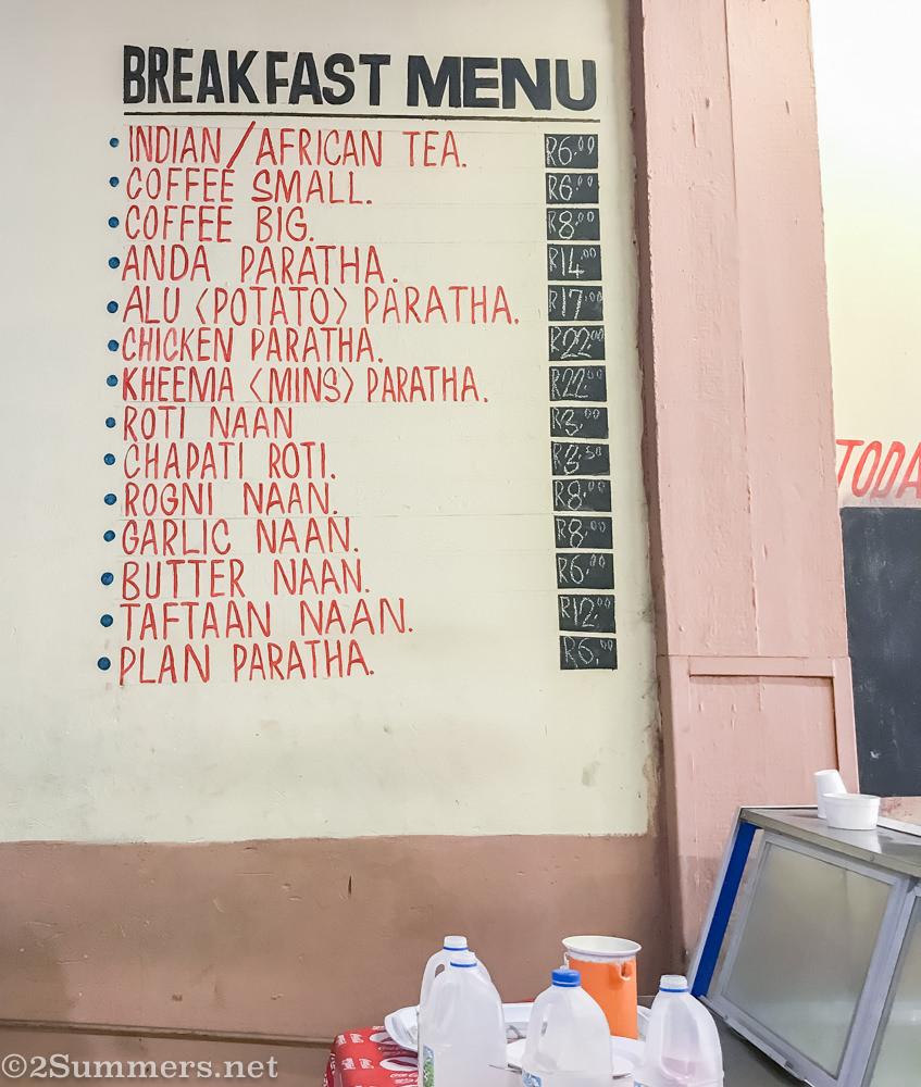 Breakfast menu at Food Junxion
