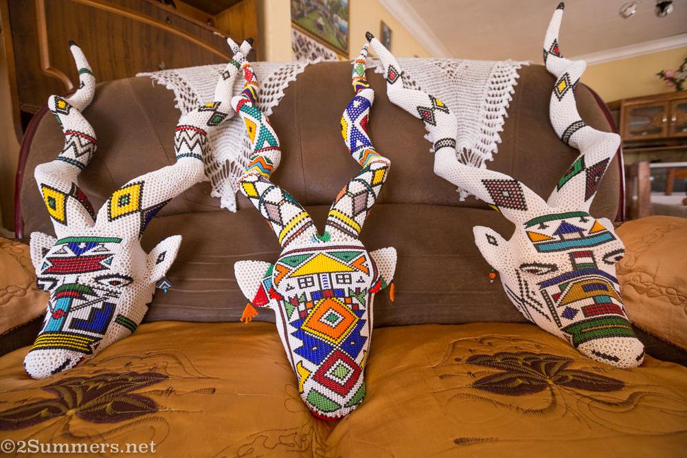 Completed Ndebele kudu heads