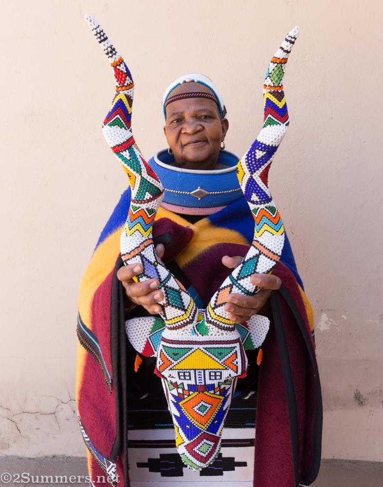 Mama Anna with her beaded Ndebele kudu head