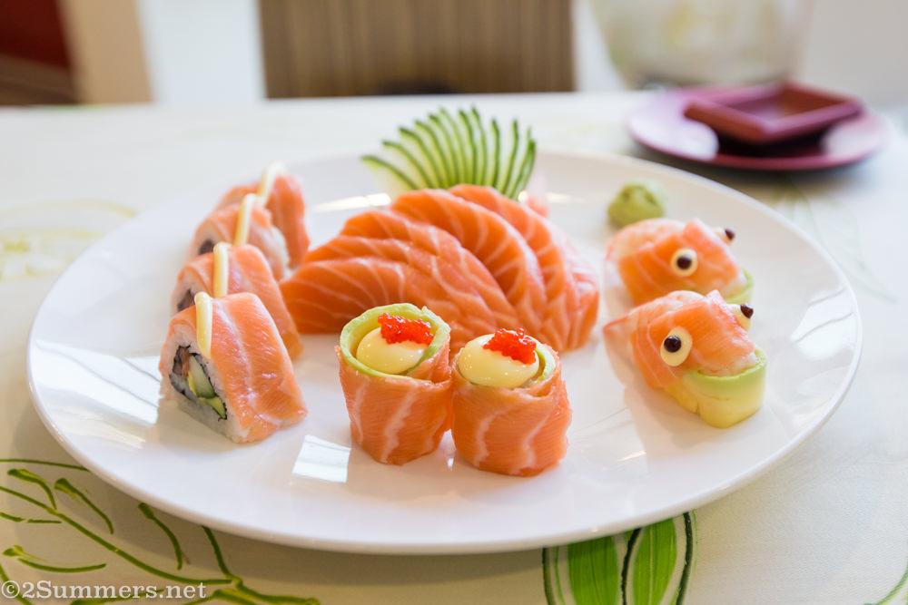 Salmon sushi at La Marina