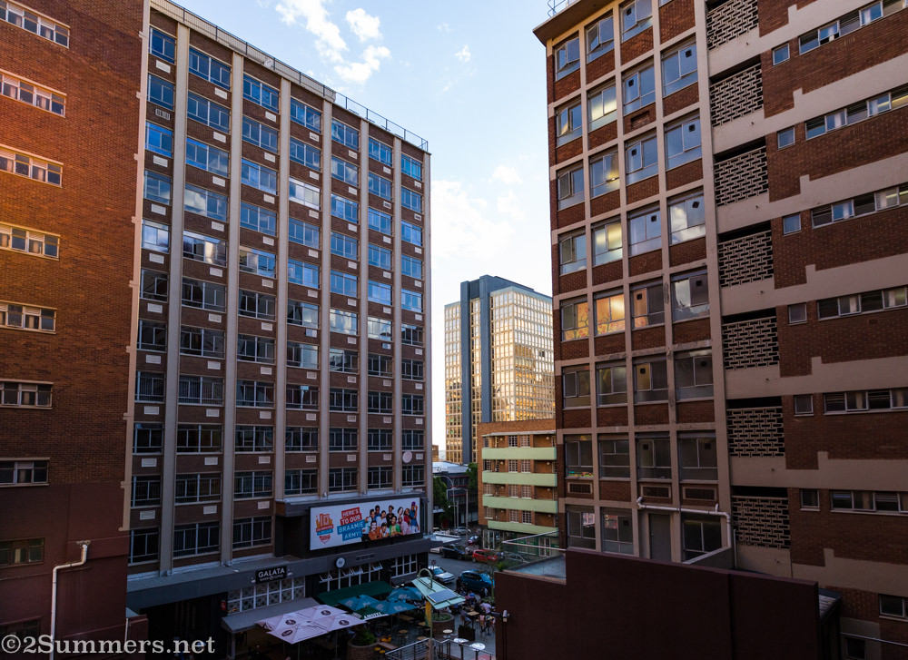 View of Braamfontein from the balcony at Once in Joburg