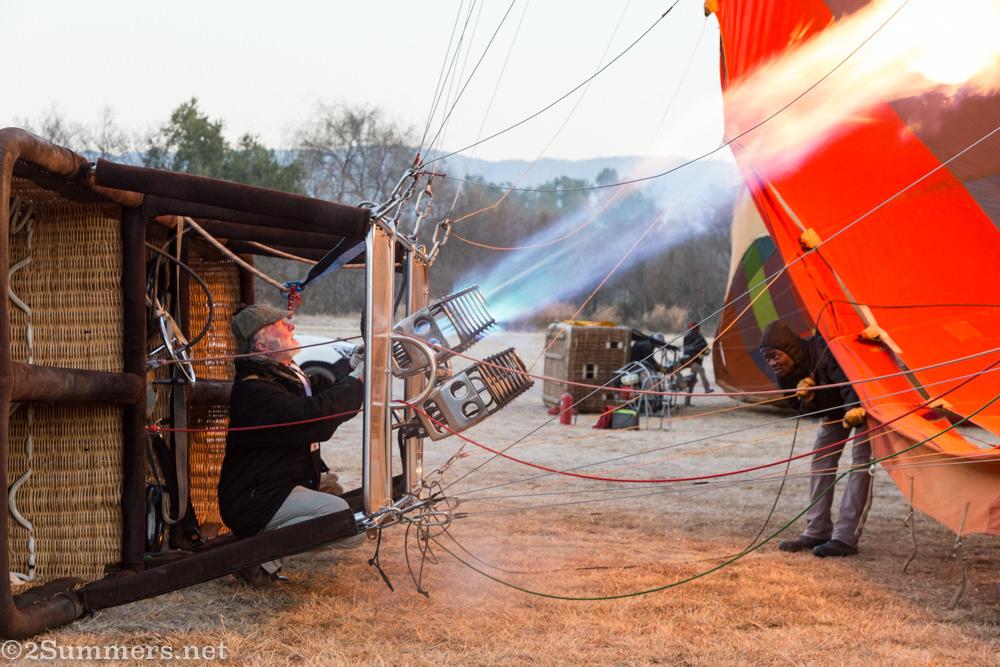 Bill Harrop inflating balloon