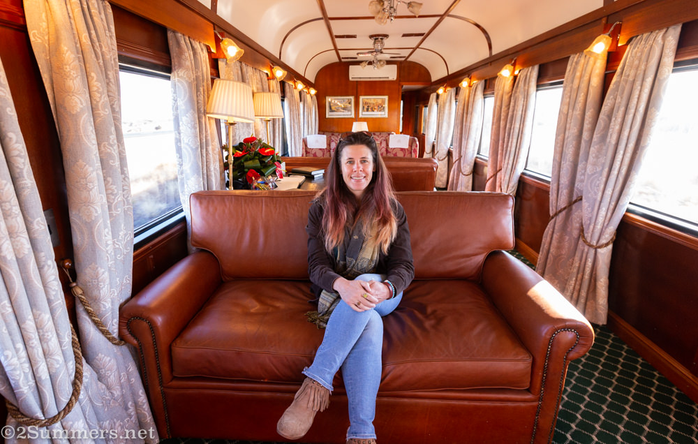Heather on lounge car in Rovos