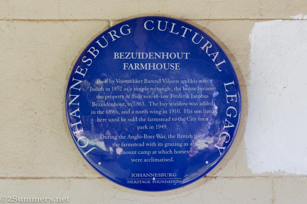 Blue plaque on Bezuidenhout Farmhouse