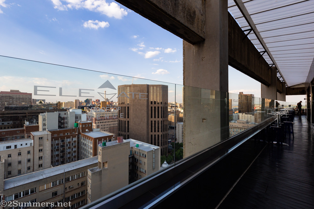 View of downtown Joburg from Elevate Rooftop Venue