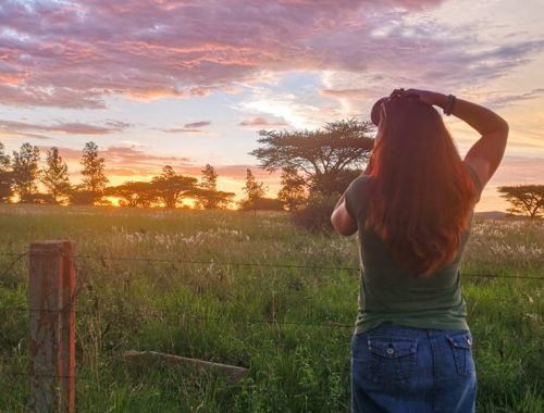 Heather, a 40-something woman photographing the sunset