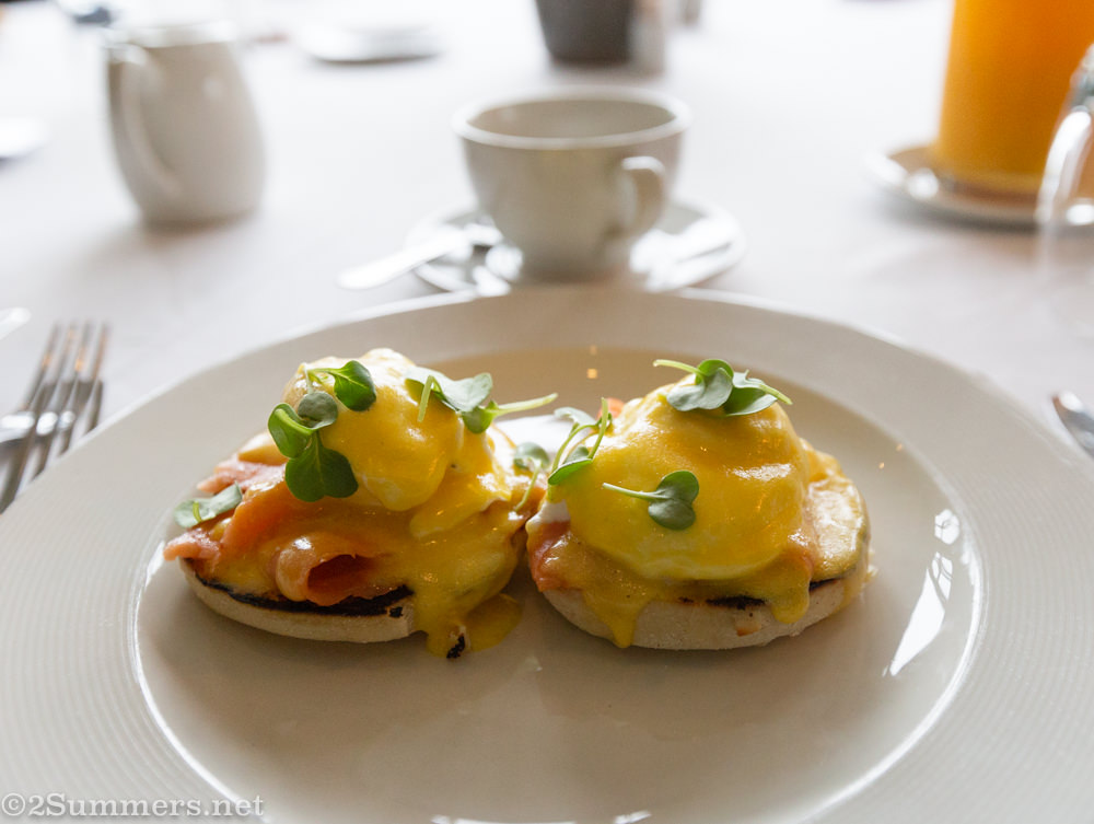 Breakfast at Brahman Hills - eggs benedict with salmon