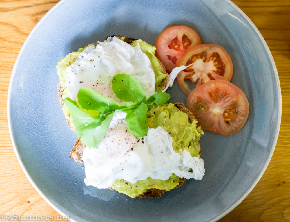 Breakfast at Loof Coffee: Smashed avo on toast with poached egg.