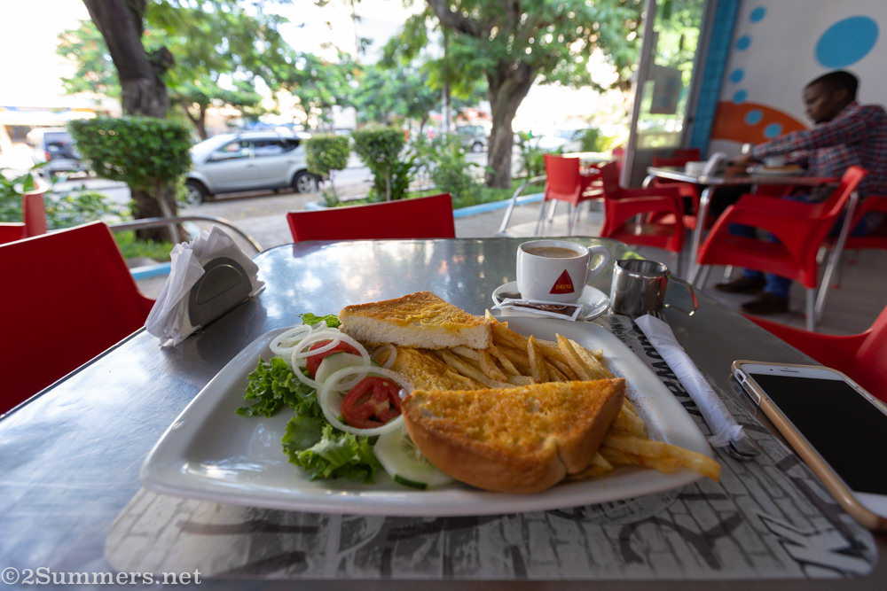 Breakfast at a Pastelaria in Maputo