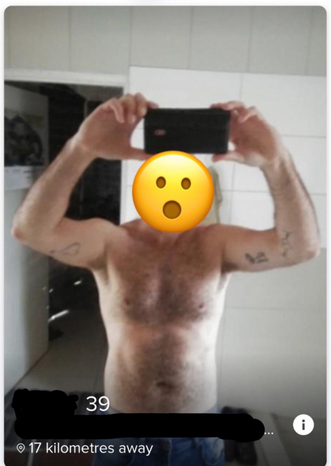 Tinder profile bare chest selfie.