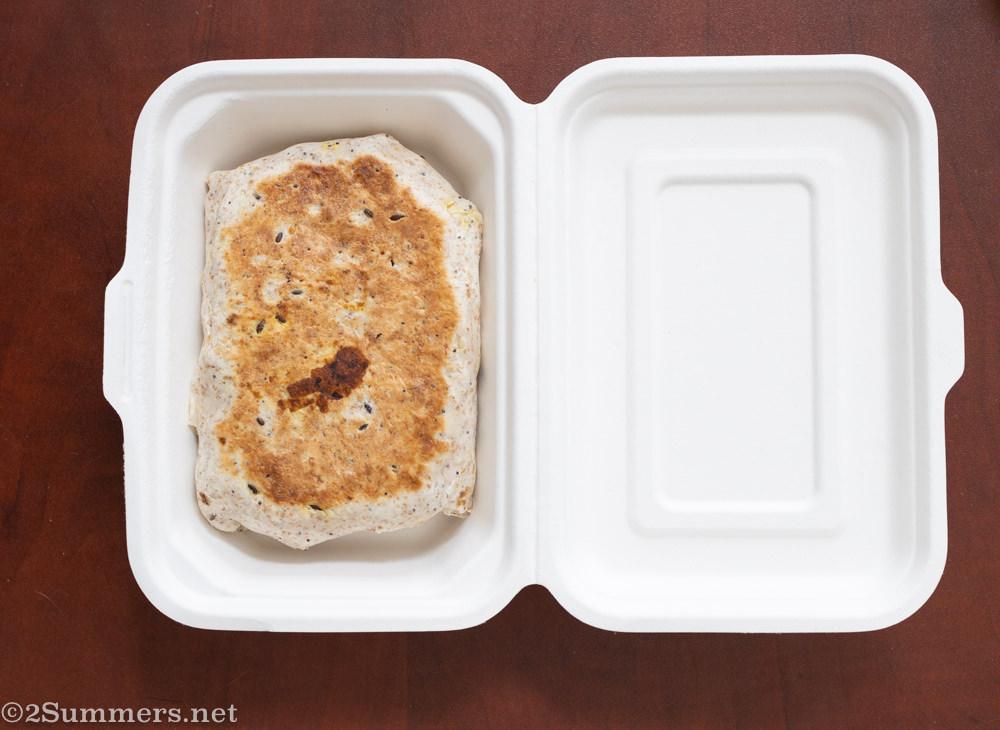 Vegan mac-and-cheese burrito from the Fussy Vegan.