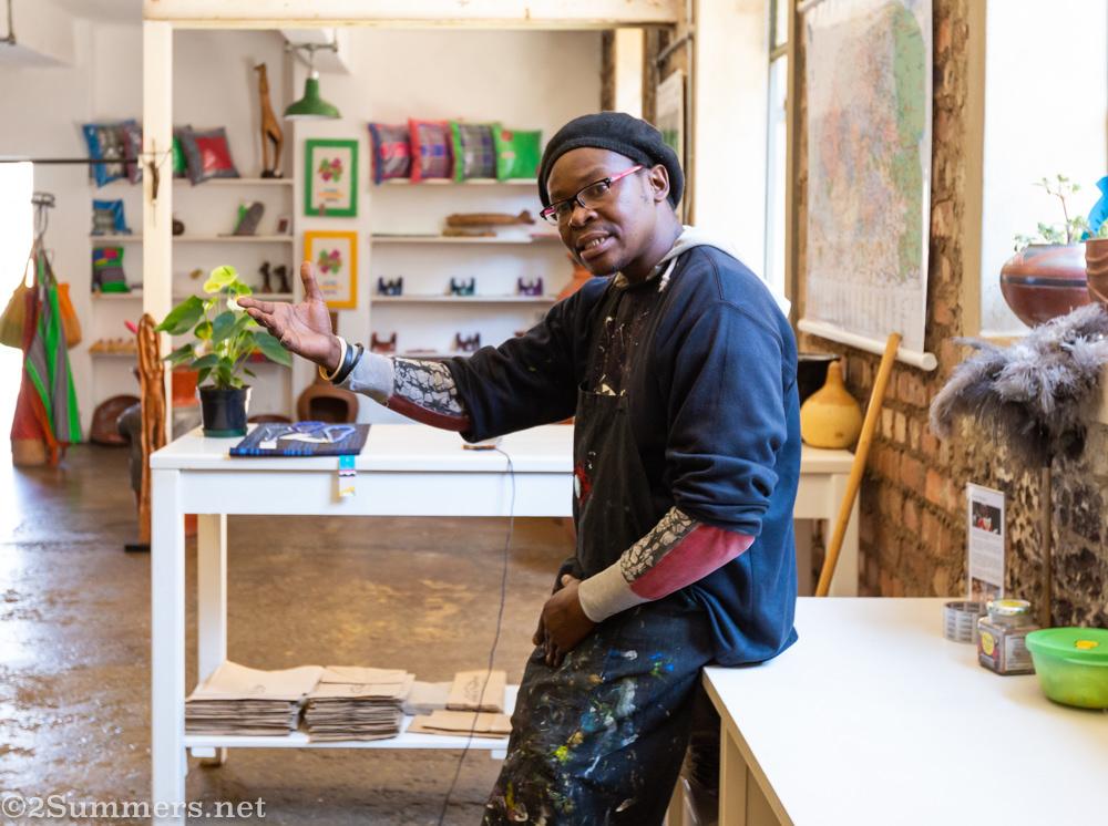 Percy Mamba, artist and shop assistant at Madi a Thavha