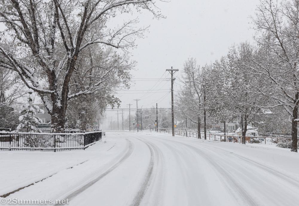 Snowy street in Colorado Springs