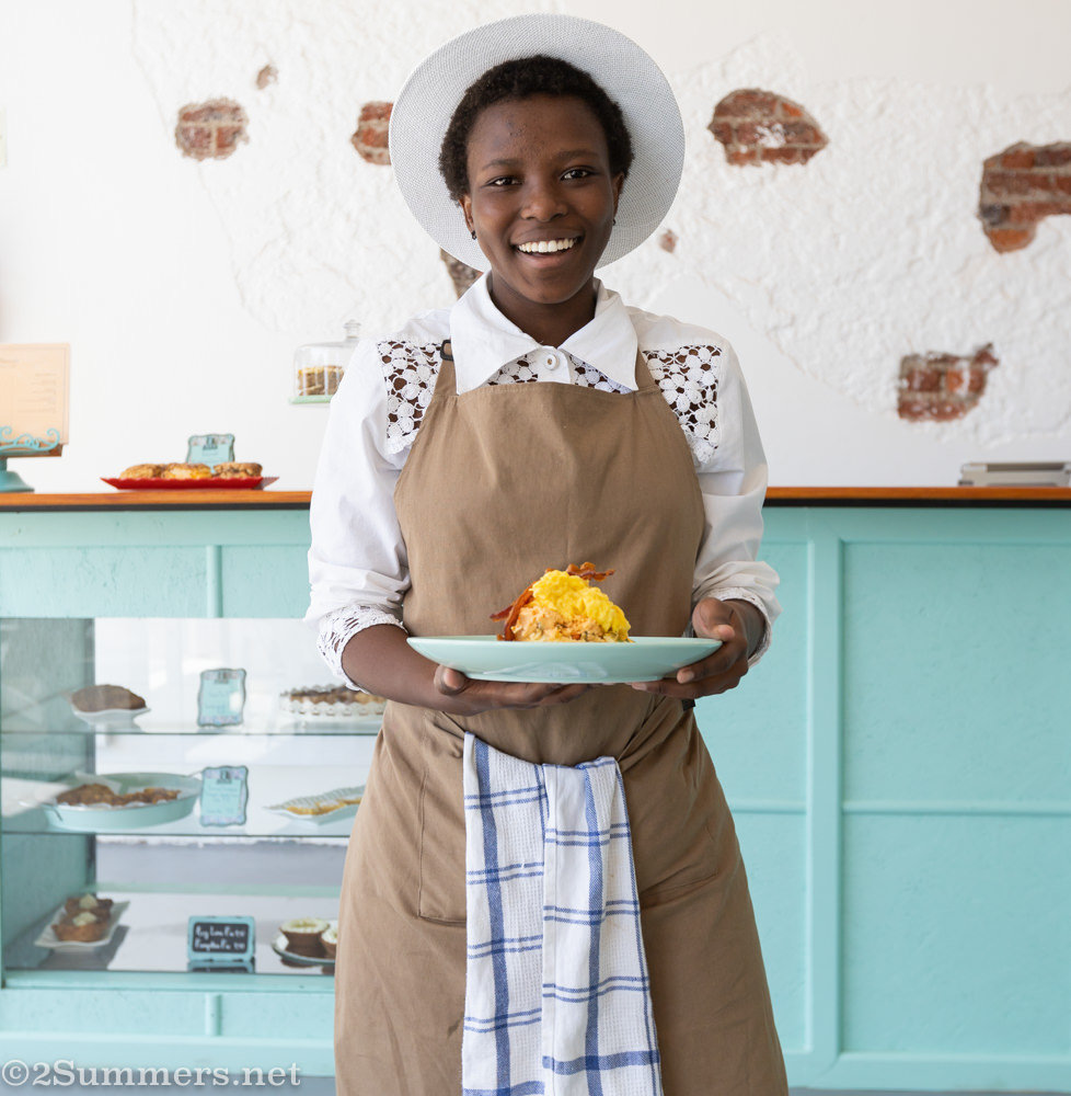Thandeka of Sweet Tea and Chickadee serves American biscuits to grateful customers like me