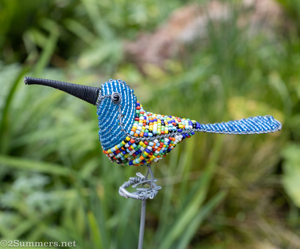 beaded bird in my garden