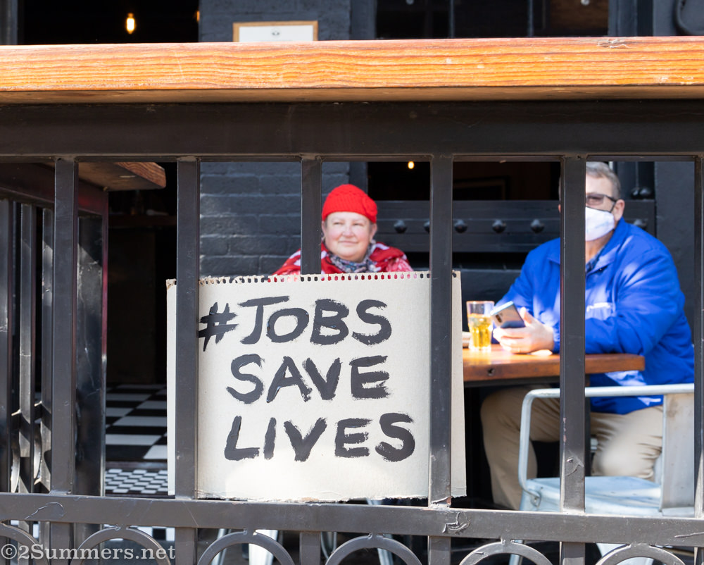 JobsSaveLives sign at Hell's Kitchen in Melville