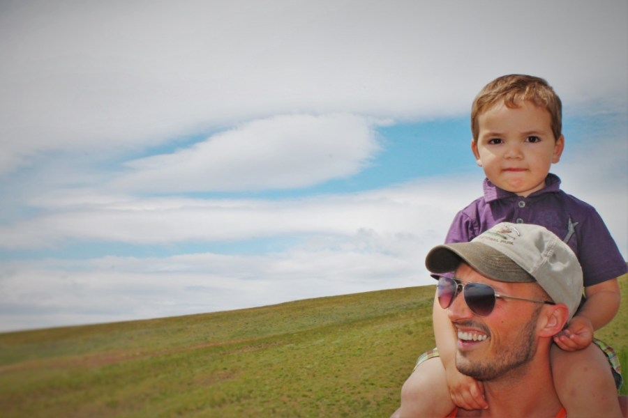 Rob Taylor and LittleMan hiking High Prairie 1