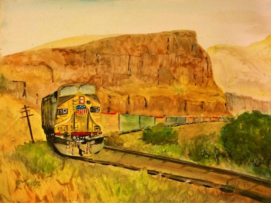 UP Train In Columbia Gorge Watercolor by Rob Taylor 2traveldads.com