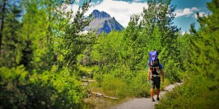 Rob Taylor heading into woods hiking Glacier National Park