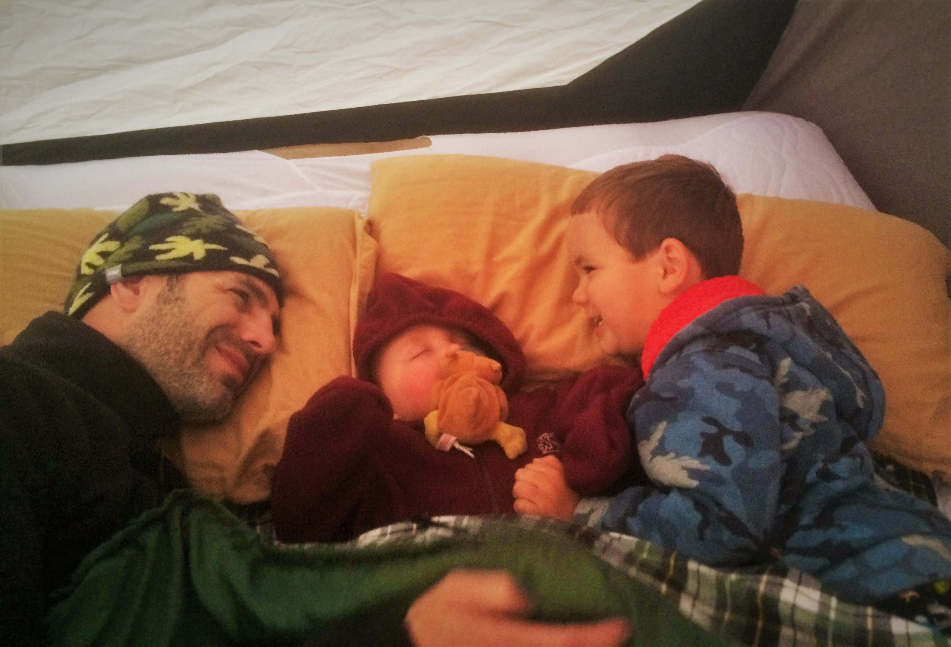 Chris Taylor and Dudes in Tent Camping Yellowstone 1
