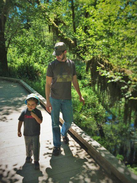Chris Taylor and LittleMan in Hoh Rainforest Olympic National Park 1