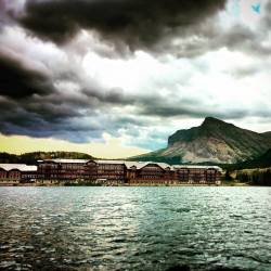 Many Glacier Hotel from Swiftcurrent Lake 1