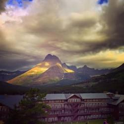 Many Glacier Hotel in Storm 1