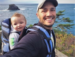 Rob Taylor and TinyMan in Kelty Kids Pack Cape Flattery Trail 2