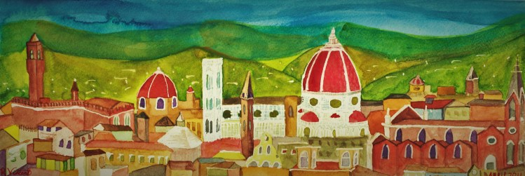 Watercolor Florence from Piazza Michaelangelo (2)