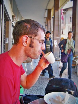 Chris Taylor drinking Espresso in Pisa
