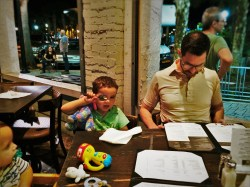 Chris Taylor and LittleMan at dinner Zeta Brewing Jacksonville Beach 1