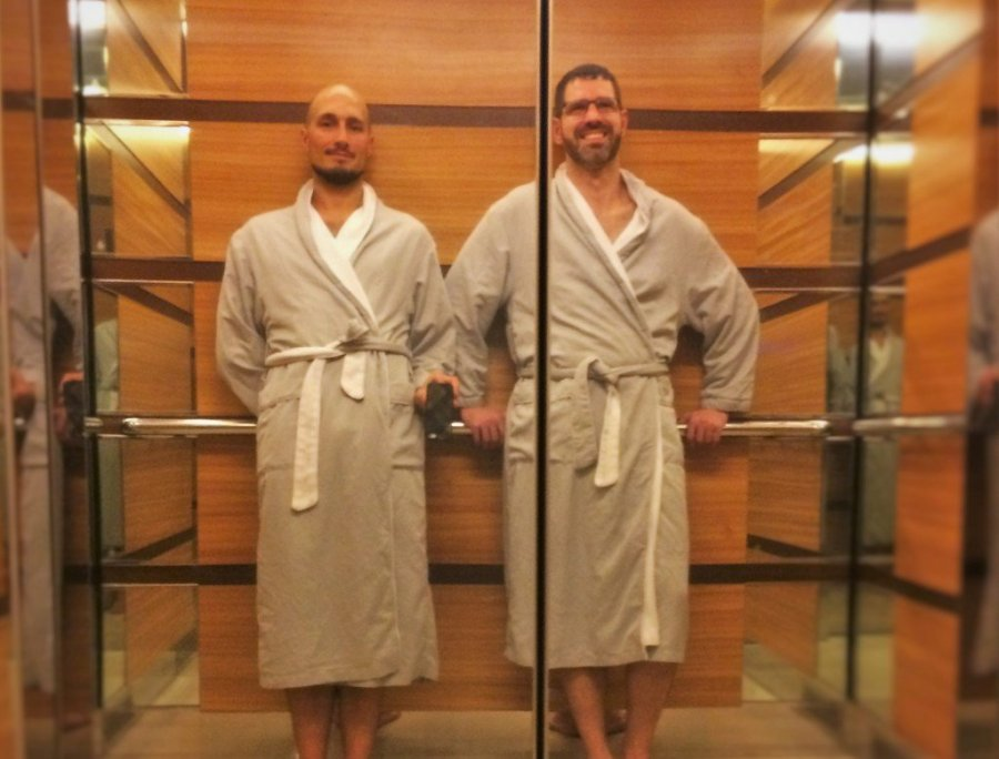 Chris and Rob Taylor in Robes at Hyatt Olive 8 Seattle 2