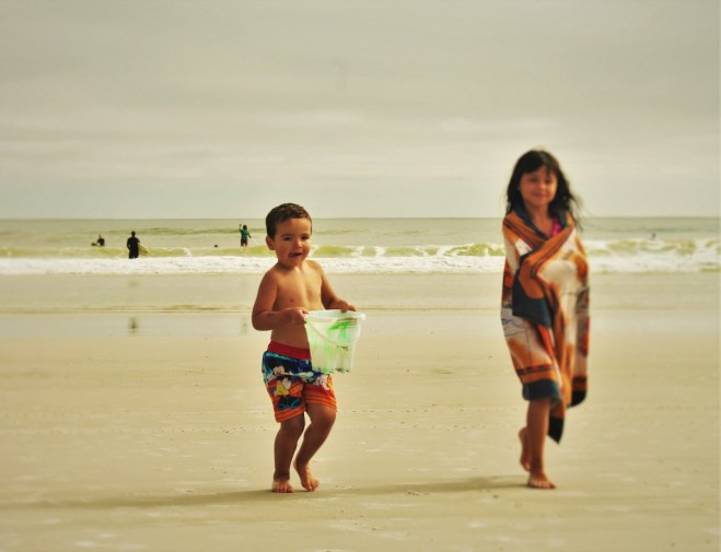 LittleMan and Friend playing in sand at Jacksonville Beach