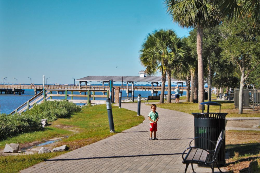 Boardwalk in Village at St Simons Island Lighthouse Georgia