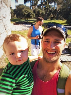 Chris and Rob Taylor with TinyMan at Fort Frederica Natl Monument St Simons GA 1