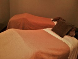 Couples Massage Setup at Waterleaf Spa at Skamania Lodge