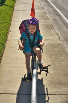 LittleMan on bike seat Biking St Simons Island GA 1