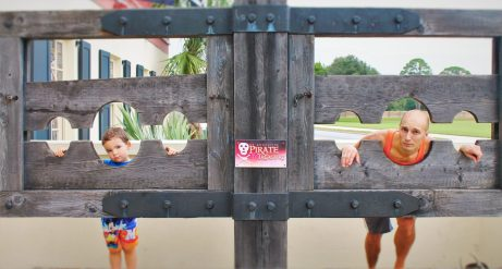 Rob Taylor and LittleMan in Stocks at Pirate Museum St Augustine Florida
