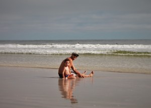 Florida beaches are some of the best for enjoying the surf. Rob and his little man love to sit and get hit with the waves.