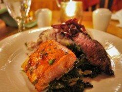 Roasted Halibut at Kingfisher Dining Romm at Sleeping Lady Resort Leavenworth WA 1