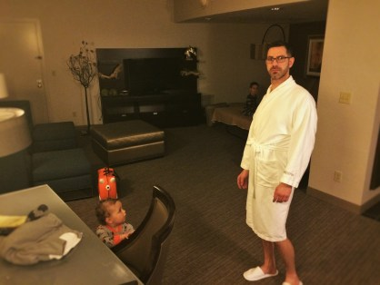 Chris Taylor and TinyMan in bathrobe in Luxury Suite at Westin Seattle 1