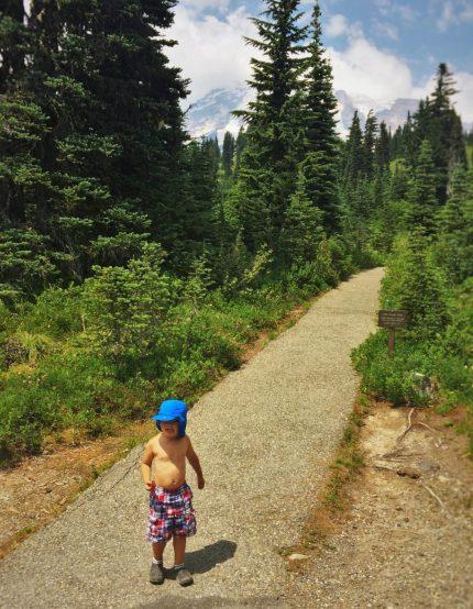 LittleMan Hiking Shirtless in Mount Rainier National Park 2traveldads.com