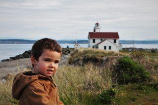 LittleMan on dunes at Point Wilson Lighthouse Fort Worden Port Townsend 1