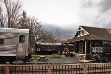 Old Snoqualmie Train Depot with Cherry Blossoms Washington 5