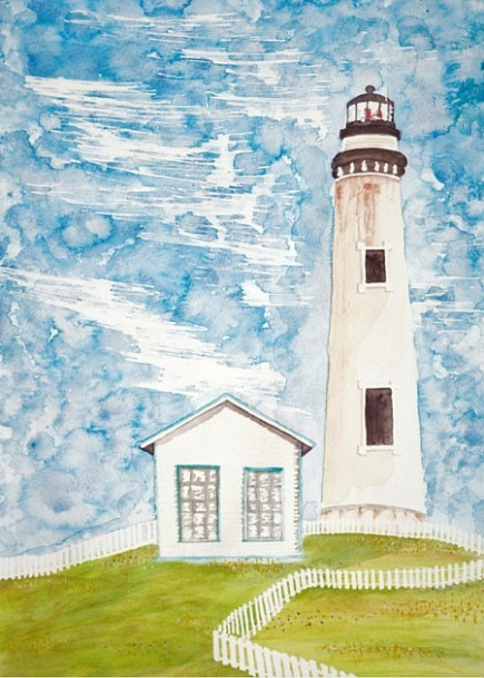 Pigeon Point Lighthouse Watercolor Painting 2traveldads.com