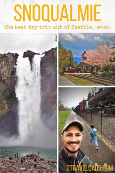 An easy day trip from Seattle, Snoqualmie Falls and the nearby town are a great getaway with kids. Hiking, trains, waterfalls. All great choices! 2traveldads.com