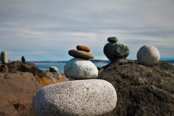 Stacked Rocks on Beach at Fort Worden Port Townsend 1