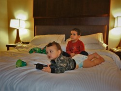Taylor Kids on Heavenly Bed in Luxury Suite at Westin Seattle 1